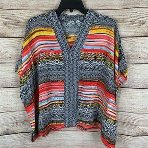 Cabi Multicolored Aztec Printed Poncho Top